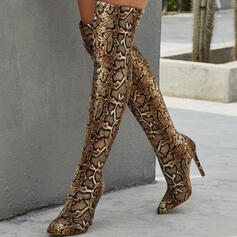 Women's PU Stiletto Heel Over The Knee Boots With Animal Print shoes
