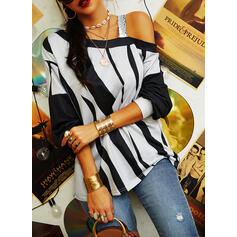 Print Sequins One-Shoulder Long Sleeves Casual Blouses