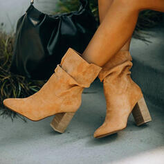Women's Suede Chunky Heel Ankle Boots Pointed Toe With Ruched Solid Color shoes