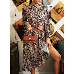 Leopard Long Sleeves A-line Skater Casual Midi Dresses