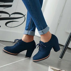 Women's Suede Chunky Heel Pumps Round Toe shoes