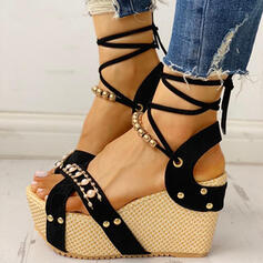 Women's PU Wedge Heel Sandals Platform Wedges Peep Toe With Beading Imitation Pearl Rivet Lace-up Crisscross shoes
