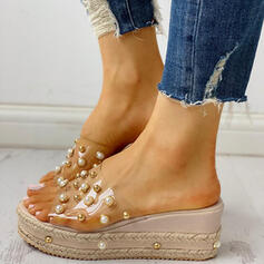 Women's PVC Wedge Heel Sandals Peep Toe Slippers With Imitation Pearl shoes