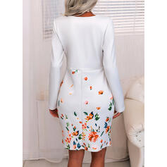Print/Floral Long Sleeves Sheath Knee Length Elegant Dresses