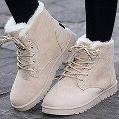 Women's Suede Flat Heel Ankle Boots Round Toe Winter Boots Snow Boots With Buckle Lace-up shoes