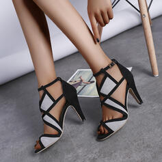Women's Suede Stiletto Heel Pumps Peep Toe With Buckle shoes