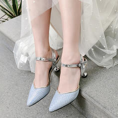 Women's Leatherette Stiletto Heel Sandals Pumps Closed Toe With Buckle shoes