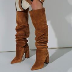 Women's Suede Chunky Heel Over The Knee Boots Winter Boots Snow Boots With Solid Color shoes