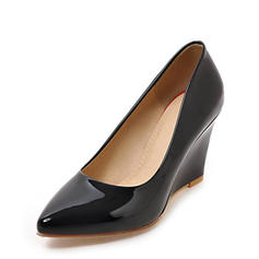 Women's Patent Leather Wedge Heel Closed Toe Wedges With Others shoes