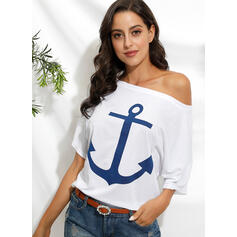 Print Off the Shoulder 1/2 Sleeves T-shirts