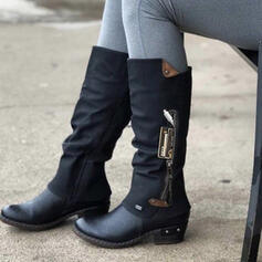 Women's PU Chunky Heel Mid-Calf Boots Martin Boots Round Toe With Buckle Zipper Splice Color shoes