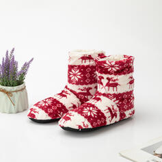 Women's PU Flat Heel Snow Boots Round Toe Winter Boots With Animal Print Embroidery shoes