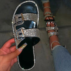 Women's Leatherette Sparkling Glitter Flat Heel Flip-Flops Slippers With Rhinestone Buckle shoes