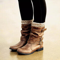 Women's PU Flat Heel Boots Mid-Calf Boots Winter Boots With Buckle shoes