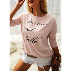 Beaded Print Letter Round Neck Long Sleeves T-shirts
