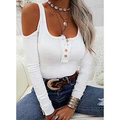 Solid Cold Shoulder Long Sleeves Button Up Casual Knit Blouses