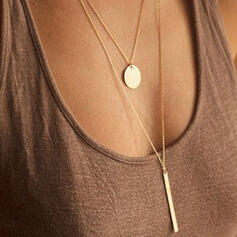 Simple Hottest Layered Alloy With Coin Necklaces (Set of 2)