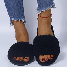 Women's Suede Flat Heel Peep Toe Slippers With Faux-Fur Solid Color shoes