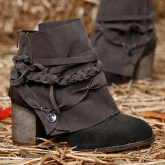 Women's PU Chunky Heel Ankle Boots Martin Boots Round Toe With Lace-up Ankle Strap shoes