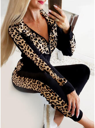 Solid Leopard Casual Sporty Suits