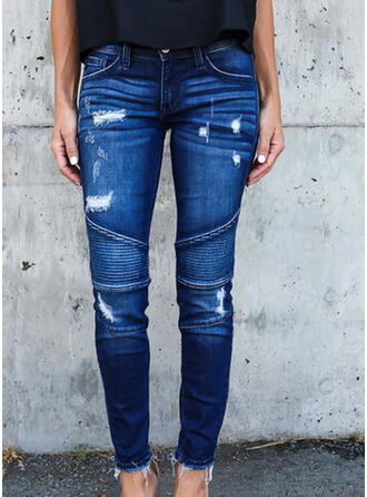 Patchwork Pockets Shirred Long Casual Sexy Denim & Jeans