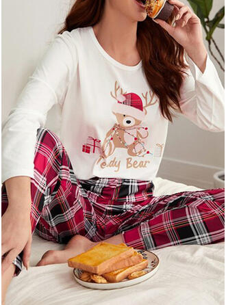 Cotton Blends Long Sleeves Plaid Christmas Pyjama Set