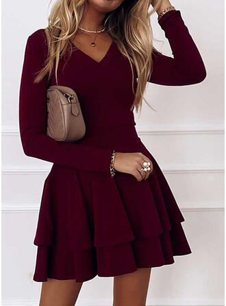 Solid Long Sleeves A-line Above Knee Party/Elegant Skater Dresses