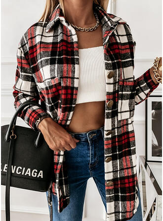 Plaid Lapel Long Sleeves Casual Shirt Blouses