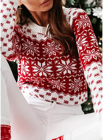 Print Christmas Round Neck Casual Christmas Sweaters