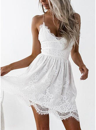 Lace/Solid/Backless Sleeveless A-line Above Knee Sexy/Party/Boho Slip Dresses