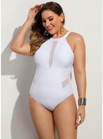 Solid Color Round Neck Sexy Plus Size One-piece Swimsuits