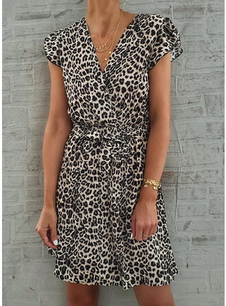 Leopard Cap Sleeve A-line Above Knee Casual/Vacation Skater Dresses
