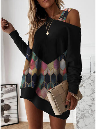 Geometric Print Long Sleeves Shift Above Knee Casual Tunic Dresses