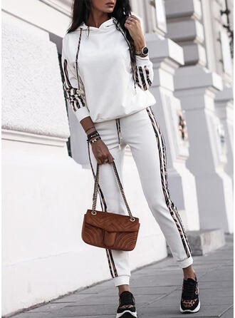 Solid Striped Drawstring Casual Sporty Suits