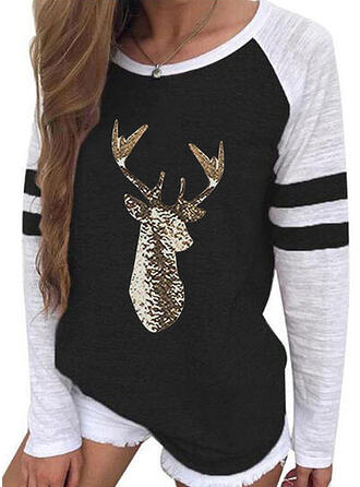 Color Block Sequins Round Neck Long Sleeves Casual Christmas T-shirts