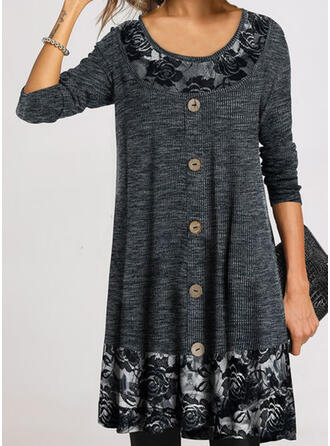 Lace/Print/Floral Long Sleeves Shift Above Knee Little Black/Casual Tunic Dresses