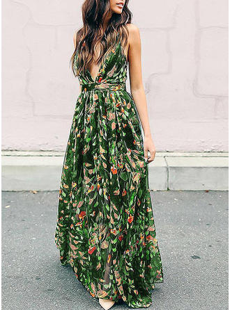 Print/Floral/Backless Sleeveless A-line Casual/Party/Boho/Vacation Maxi Dresses
