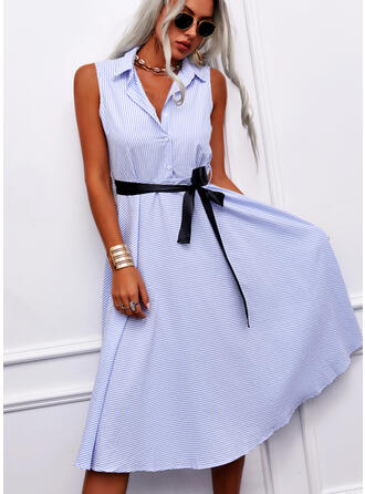 Striped Sleeveless A-line Shirt Casual/Elegant Midi Dresses