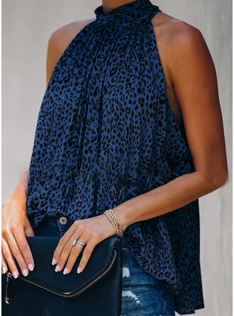 Leopard Stand collar Sleeveless Casual Tank Tops