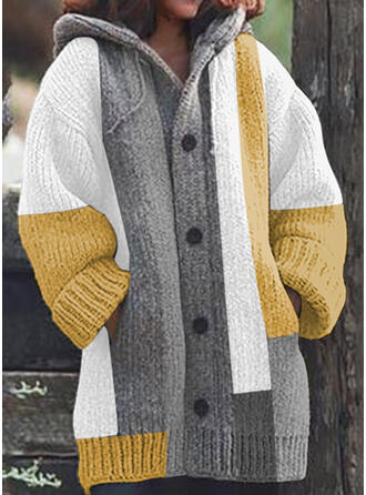 Color Block Chunky knit Pocket Hooded Casual Long Cardigan