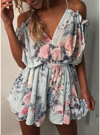 Floral Print Spaghetti Strap Short Sleeves Cold Shoulder Sleeve Casual Vacation Romper