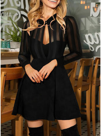Solid Long Sleeves A-line Above Knee Little Black/Party Skater Dresses