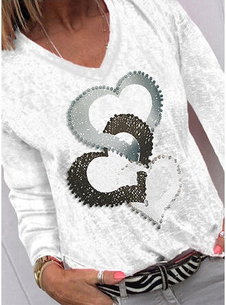 Print Heart V-Neck Long Sleeves Casual T-shirts