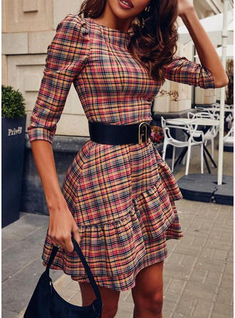 Plaid 1/2 Sleeves/Puff Sleeves A-line Above Knee Casual Skater Dresses