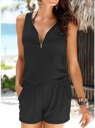 Solid Color Zipper Strap V-Neck Sexy Sports Classic Plus Size Cover-ups Swimsuits
