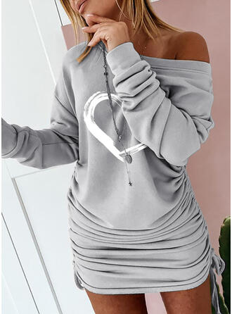 Print/Heart Long Sleeves Bodycon Above Knee Casual Sweatshirt Dresses