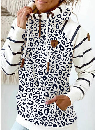 Striped Leopard Pockets Long Sleeves Hoodie