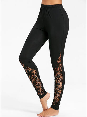 Solid Lace Shirred Long Casual Sexy Lace Yoga Leggings