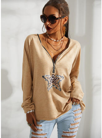 Sequins Leopard V-Neck Long Sleeves Casual Blouses