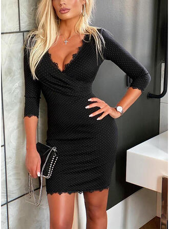 Lace/Print 3/4 Sleeves Bodycon Above Knee Little Black/Elegant Dresses